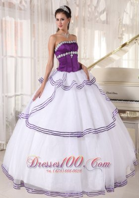 Strapless White and Purple Quinceanera Dress Gown