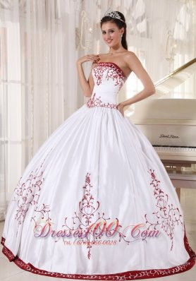 Wine Red and White Embroidery Ball Gown Quinceanera Dress