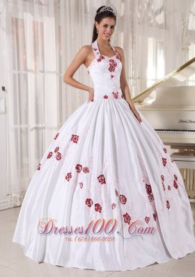 Halter Flower White Sweet 15 Dress Floor Length