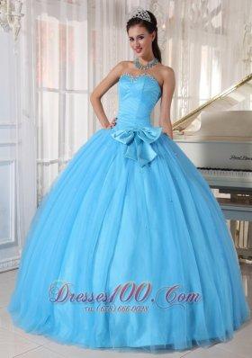 Aqua Blue Quinceanera Ball Gown Bowknot Sweetheart