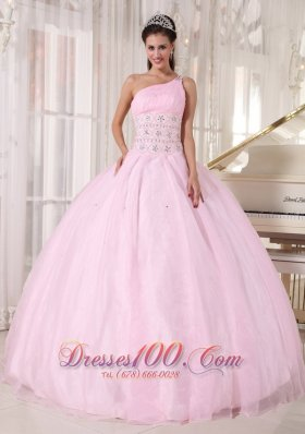One Shoulder Pink Sweet 15 Dress Beading Ball Gown