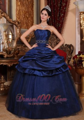 Navy Blue Embroidery Quinceanera Dress Pick-ups