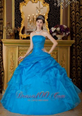 Strapless Ball Gown Pick-ups Quinceanera Dress Blue