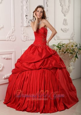Sweetheart Floor-length Pick-ups Quinceanera Dress Red