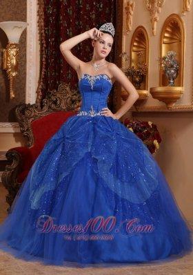 Blue Quinceanera Dress Appliques Ball Gown 2013