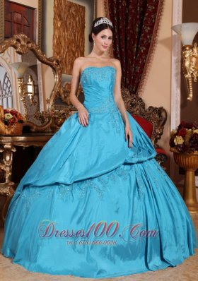 Strapless Teal Quinceanera Dress Layer Pick-ups