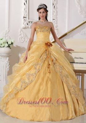 Gold Quinceanera Dress Strapless Appliques Hand Made Flower