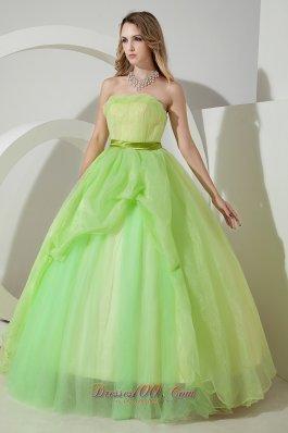 Strapless Spring Green Sweet 16 Dress Sash 2013