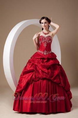 Wine Red A-line Quinceanera Dress Sweetheart Taffeta Appliques