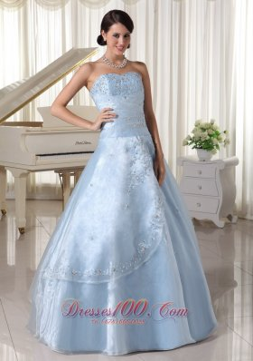 Organza Beading Sweetheart Blue A-line Quinceanera Dress
