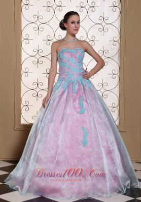 Quinceanera Dress Blue Appliques Organza Strapless