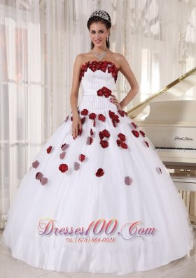 White Quinceanera Dress Strapless Tulle Beading Floral