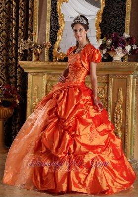 Orange Quinceanera Dress Sweetheart Appliques Taffeta