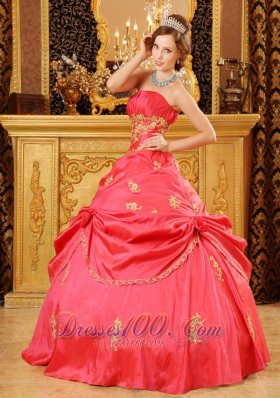 Watermelon Red Quinceanera Dress Strapless Taffeta Beading