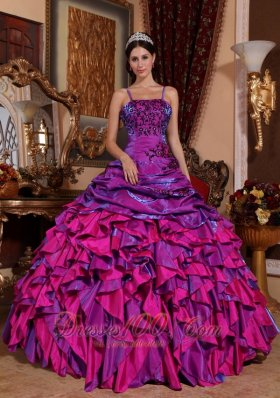 Fuchsia Quinceanera Dress Straps Satin Embroidery