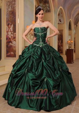 Dark Green Quinceanera Dress Strapless Beading Taffeta