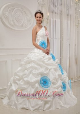 White Quinceanera Dress One Shoulder Taffeta Beading