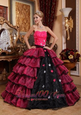 Strapless Floor-length Organza Appliques Quinceanera Dress