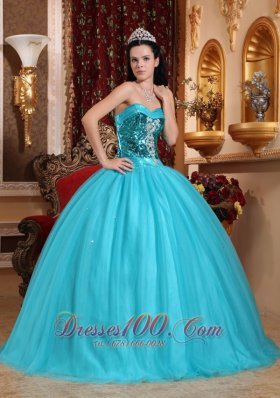 Popular Tulle Blue Beading Quinceanera Dress Sweetheart