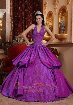 Purple Simple Dresss for Quinceanera Halter Taffeta Appliques