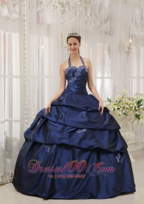 Appliques Decorate Navy Blue Quinceanera Dress Halter Taffeta