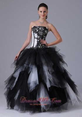 Ruffled Black and White Sixteen Dresses With Embroidery