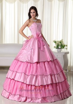 Hand Flowers Rose Pink Taffeta Beading Quinceanera Dress
