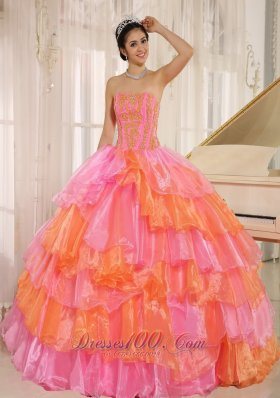 Ruffled Layers With Appliques Decorate Pink Dress for 15