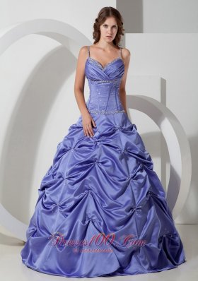 Spaghetti Straps Lilac Beading Dress for Quinceaneras