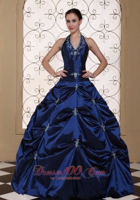 Halter Top Navy Blue Quinceanera Dress Embroidery With Beading