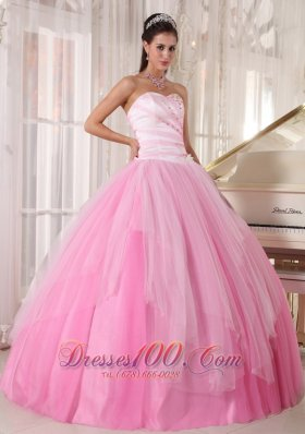 Perfect Beading Pink Quinceanera Dress Sweetheart Tulle