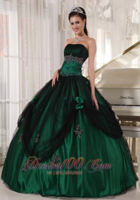 Pretty Green Tulle and Taffeta Beading Quinceneara Dresses