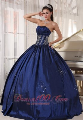 Navy Strapless Quinceanera Dress Embroidery and Beading