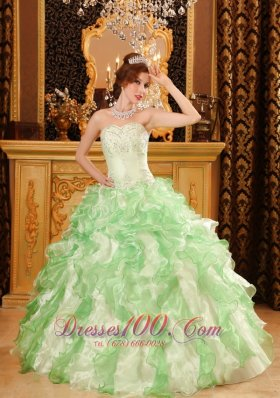 Beading and Ruffles Organza Apple Green Dresses for Quinceanera