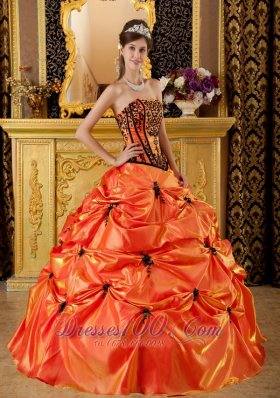 Taffeta Orange Dresses for A Quince Pick-ups and Embroidery