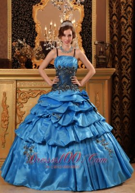 Blue Quinceanera Dress Spaghetti Straps Taffeta Appliques
