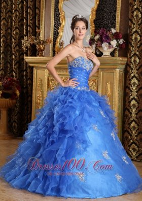 Strapless Royal Blue Quinceanera Dress Ruffles With Appliques