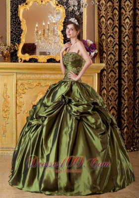 Olive Green Taffeta Appliques Handmade Flowers Quinceanera Dress