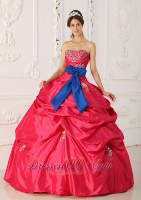 Beading and Sash Coral Red Quinceanera Gowns Dresses Taffeta