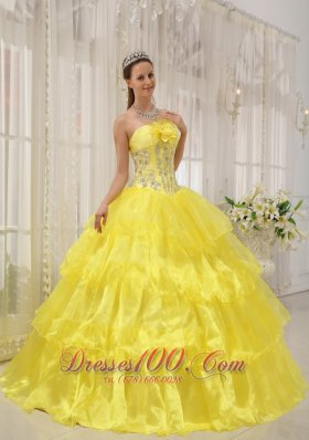 Ball Gown Taffeta and Organza Beading Yellow Quinceanera Dress