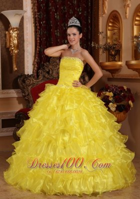 Yellow Organza Beading Ruffled Dress for Quinceanera