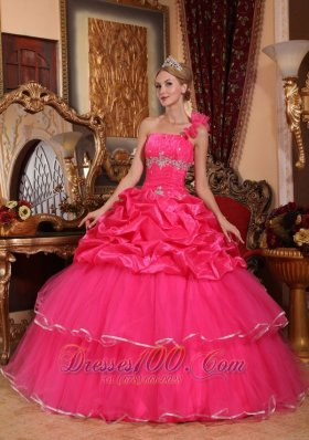 One Shoulder Hot Pink Quinceanera Dress Beading and Pick-ups