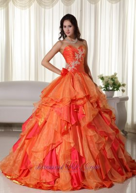 Orange Organza Appliques and Ruffles Quinceanera Dress