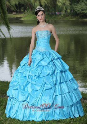 Discount Taffeta Quinceanera Dress Aqua Blue With Beading Decorate