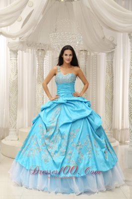 Aqua Organza One Shoulder Embroidery Quinceanera Dress