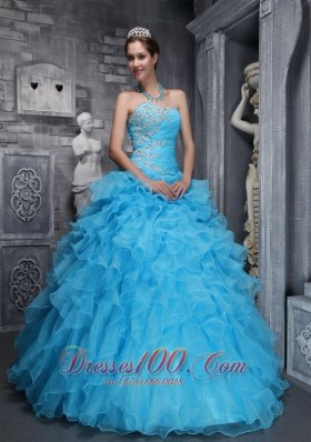 Taffeta and Organza Beading and Appliques Aqua Blue Quinceanera Dress