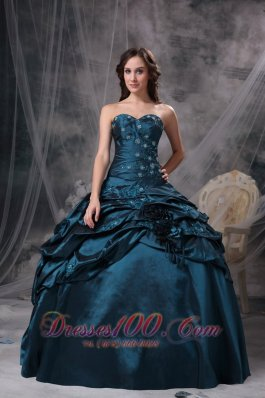 Green Taffeta Appliques Quinceanea Dress Beading Decorates