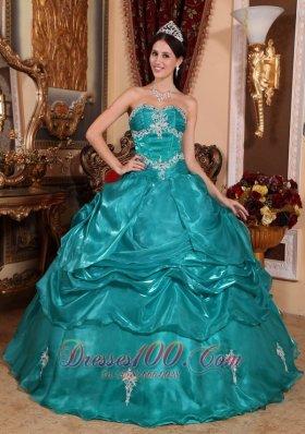 Turquoise Plus Size Organza Appliques Quinceanera Dress