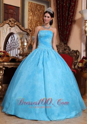 Organza Aqua Blue Quinceanera Dress Strapless Appliques