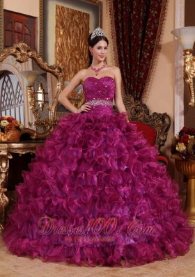 Sweetheart Fuchsia Floor-length Dresses Of 15 Organza Beading